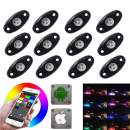 LED Rock Light Kits with 6/8 Pods RGB Lights for for Trucks, Jeeps, SUV, ATV - Offroad, Crawling, Climbing Waterproof, SoundSync, Bluetooth App Controls Lamp Waterproof (12 pod)