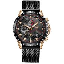 LIGE Men's Watches Fashion Luxury Military Sport Analog Quartz Chronograph Watch for Men Classic Casual Waterproof Watch Black Gold Stainless Steel Mesh Gents Dress Watch