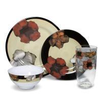 Pfaltzgraff Painted Poppies Melamine Dinnerware Set (16 Piece)