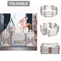 Baby Playpen Infants Safety Fence Foldable Portable Play Yard, BPA Free, Home Indoor Outdoor Activity Centre Play Pen 52'' x 55'' x 22.8''