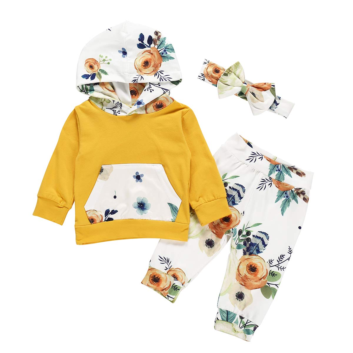 Autumn Fall Outfits Baby Girls Long Sleeve Floral Hoodie Sweatshirt Pants Set