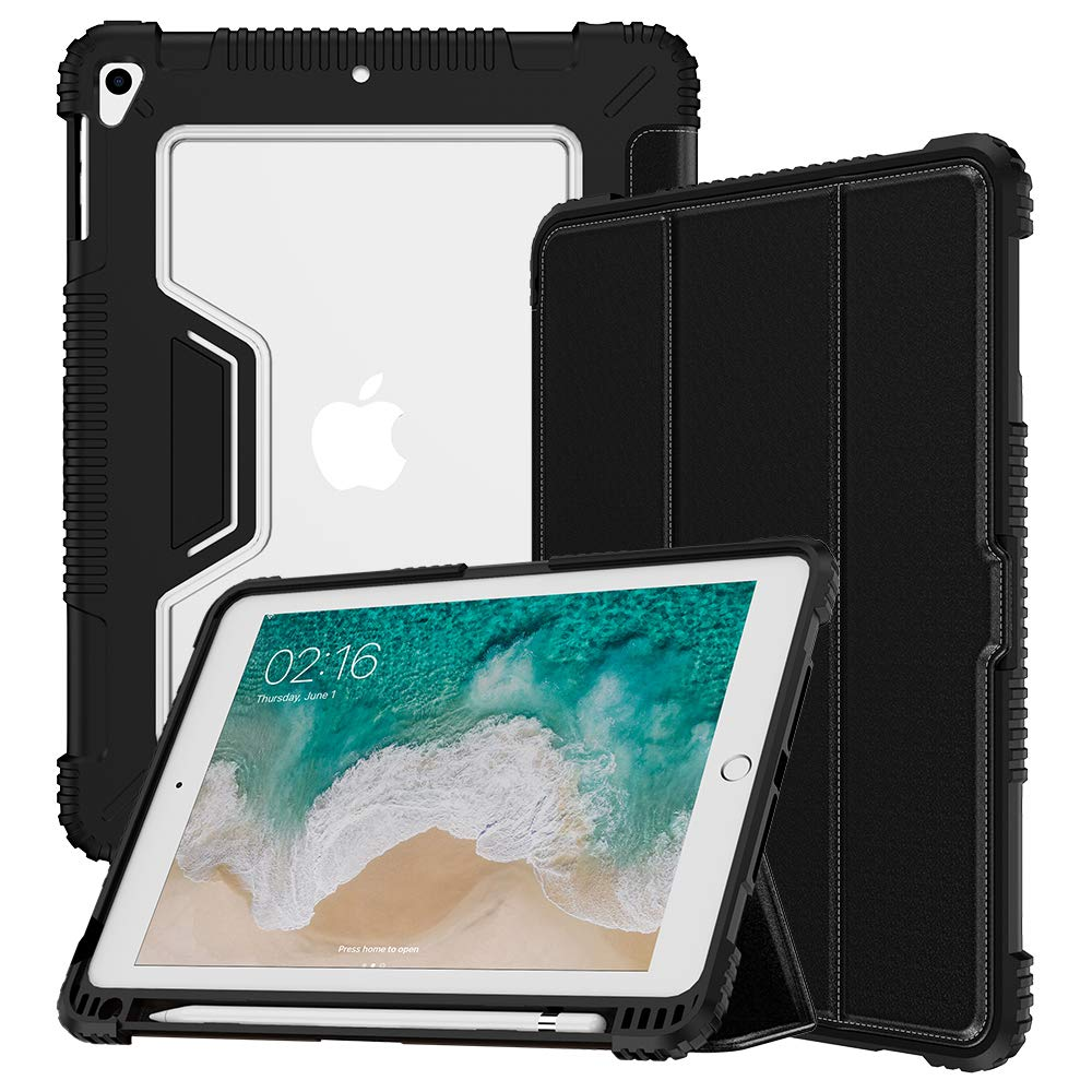 VEGO Case Compatible for iPad 6th 5th Generation 9.7 inch 2018 2017 Shockproof Rugged Leather Folding Stand with Pencil Holder, Microfiber Lining Auto Sleep Wake Kickstand Protective Cover, Black