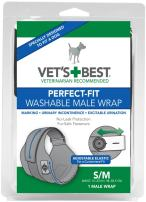 Vet's Best Washable Male Dog Diapers | Absorbent Male Wraps with Leak Protection | Excitable Urination, Incontinence, or Male Marking | 1 Reusable Dog Diaper Per Pack