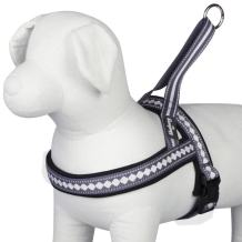 """Blueberry Pet 4 Colors Soft & Comfy 3M Reflective Jacquard Padded Dog Harness, Chest Girth 20.5"""" - 26"""", Purple Grey, Medium, Adjustable Harnesses for Dogs"""