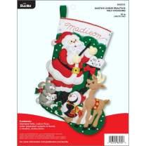 "Bucilla Felt Applique Stocking Kit Santa Choir Practice, 18"""
