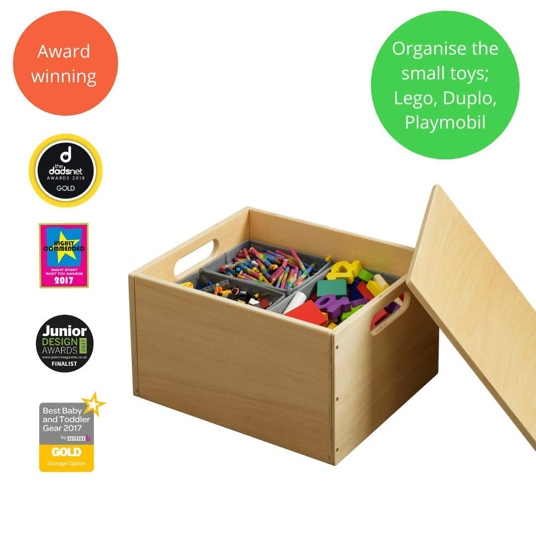 Tidy Books - Toy Box   Wooden Toy Organizer   Lego Storage with Lid   Natural   15.7 x 13.4 x 9.4   ECO Friendly   Handmade   The Original Sorting Box