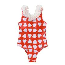 Infant Toddler Baby Girls Swimsuit Cute Love Heart Printed Lace Backless One-Piece Swimwear Summer Bathing Suit