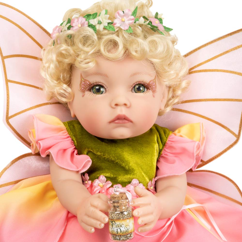 Paradise Galleries Reborn Baby Fairy Doll - Petal Pixie, 16 inch in GentleTouch Vinyl, 7-Piece Doll Gift Set