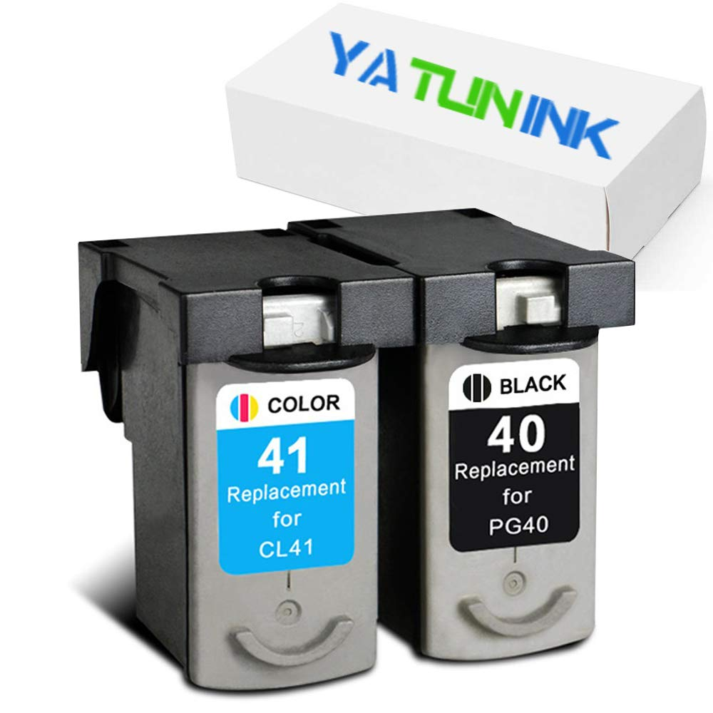 YATUNINK Remanufactured Ink Cartridge Replacement for Canon PG-40 CL-41 PG40 CL41 Ink Cartridges Compatible for Canon PIXMA IP1600 PIXMA IP2600 PIXMA MP450 PIXMA MX300 2PK(1 Black / 1 Color)
