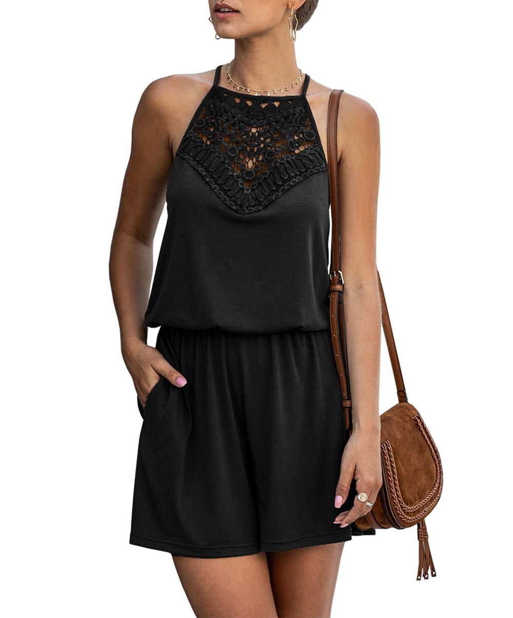 KIRUNDO Summer Women's Lace Patchwork Romper Halter Neck Short Solid Sleeveless High Waist Jumpsuit with Pockets