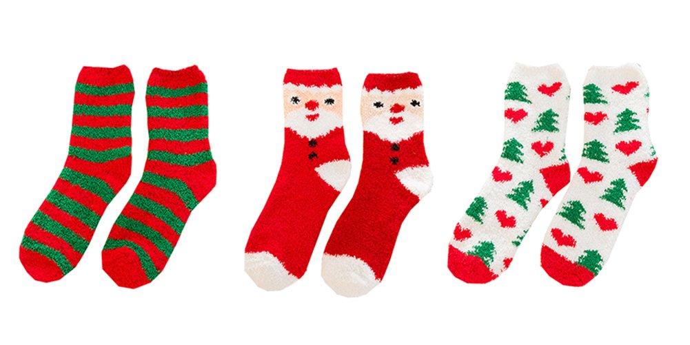 Sherry007 Women's Christmas Fuzzy Holiday Festive Stripes Snowflake Cozy Fluffy Crew Socks
