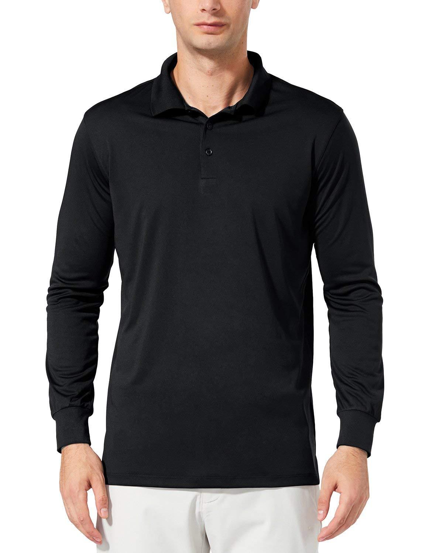 BALEAF Men's UPF 50+ Sun Protection Golf Polo Shirt Long Sleeve Tennis Quick Dry Shirt Performance Active Workout Shirt