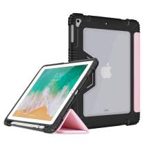 Bigphilo [SPA Series] Clear Case for iPad (5th Gen) / iPad (6th Gen) / iPad Air (1st Gen), Vegan Leather iPad Case with Built-in Pencil Holder, Heavy Duty Cover for iPad 9.7 inch 2017/2018, Pink
