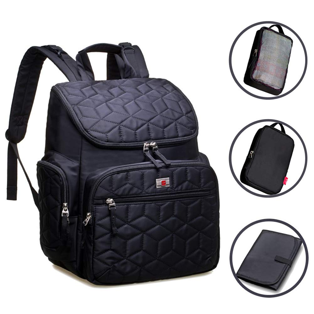 Large Capacity Diaper Bag Backpack with Insulated Pockets,Stroller Buckles, Waterproof