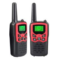 Walkie Talkies for Adults Kids, Long Range 2 Way Radios Up to 5 Miles - 22 Channel FRS/GMRS VOX Scan LCD Display with LED Flashlight for Outdoor Biking Hiking Camping, Best Gift, 2 Pack -Red