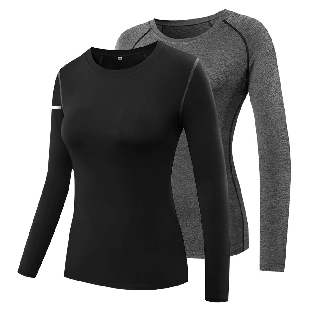 Miqieer Women's Compression Slimming Shirt Long Sleeve Dry Fit Running Athletic T-Shirt Workout Tops