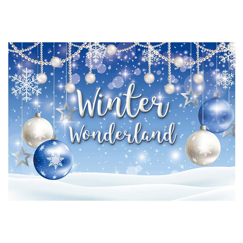 Funnytree 7x5ft Winter Wonderland Theme Backdrop for Blue Boy Baby Shower Birthday Party Christmas Snowflake Snow Landscape Photography Background Bokeh Glitter Pearl Banner Decoration Photo Booth