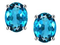 Star K Solid 14k White Gold Oval 8x6mm Earrings Studs