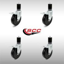 """Stainless Steel Hard Rubber Swivel Expanding Stem Caster Set of 4 w/5"""" x 1.25"""" Black Wheels and 1-5/8"""" Stems - Includes 4 with Total Lock Brakes - 1200 lbs Total Capacity - Service Caster Brand"""