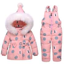 Baby Girls Winter Down Coats Snowsuit Outerwear 2Pcs Clothes Hooded Jacket Snow Ski Pants Outfits Set