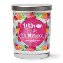 Welcome to The Neighborhood | Vanilla, Sandalwood, Amber | Scented Soy Candles |10 Oz. Jar Candle | Poured in USA | Decorative Aromatherapy | Housewarming Gifts for New Home | New Home Gift Ideas