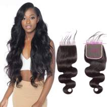 Brazilian Body Wave Lace Closure 5x5 Human Hair Closure Preplucked With Baby Hair Free Part 130% Density Unprocessed Virgin Human Hair Extensions Wet And Wavy Sew In Hair Natural Black(16inch)