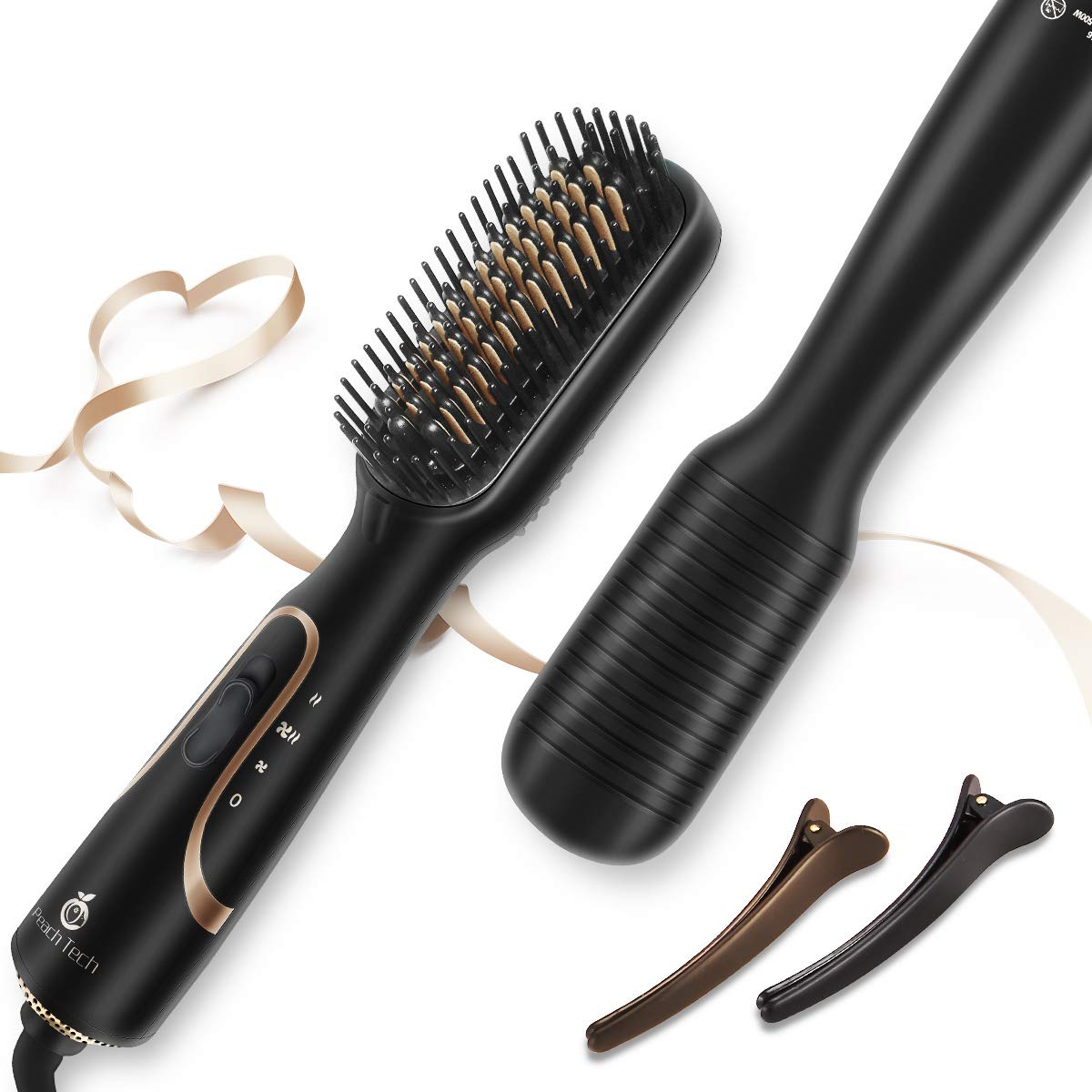 Hair Dryer Brush - 4 in 1 One Step Hair Dryer and Styler, Hair Brush Dryer/Straightener/Curler/Comb - Ceramic Ionic Blow Dryer Hot Air Brush - Mother's Day Gifts for Women