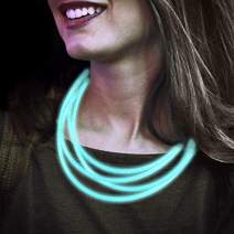 Lumistick 22 Inch Glow Stick Necklaces | Non-Toxic & Kids Safe Light Up Neckwear | Bendable Sticks with Connectors | Glows in The Dark Night Party Favor (Aqua, 50 Necklaces)
