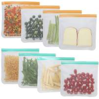 Reusable Storage Bags - 8 Pack Oversize BPA Free Food Freezer Bags with Ziplock for Bread Fruits Vegetable Pasta