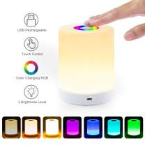 Night Light, Table Touch Lamp for Bedrooms Nightstand, Portable Cordless Rechargeable Bedside Lamps, Mini Dimmable Warm White Light & Color Changing RGB