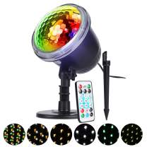 Christmas Projector Light, ALED LIGHT Waterproof Outdoor Holiday Projector Night Light 4 Patterns Indoor Decoration Snowflake Light Projector Landscape with Remote Control for Xmas Tree, Holiday Party