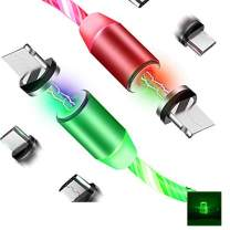 LED Flowing Magnetic Charger Red Green Cable Light Up Candy Moving Party Shining Charger Phone Charging Cable Magnetic Streamer Absorption USB Snap Quick Connect 3 in 1 USB Cable