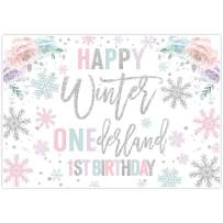 Allenjoy 8x6ft Winter Onederland Backdrop Supplies Newborn Baby Girl's 1st First Christmas Holiday Birthday Party Banner White Snowflakes Photo Booth Background Pink Silver Event Decorations Props
