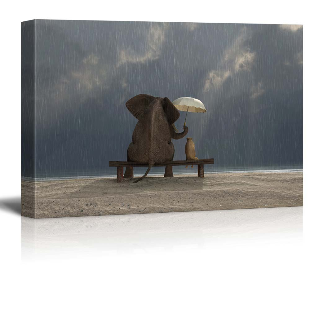 """wall26 - Canvas Prints Wall Art - Elephant and Dog Sit Under The Rain   Modern Wall Decor/Home Decoration Stretched Gallery Canvas Wrap Giclee Print. Ready to Hang - 16"""" x 24"""""""