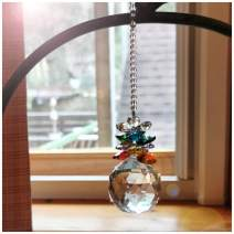 H&D Crystal Sucatcher with Chandelier Crystal Prism Ball Rainbow Maker Sun Catchers for Window Home Decor Car Charm