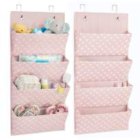 mDesign Soft Fabric Wall Mount/Over Door Vertical Hanging Storage Organizer Center - 4 Large Pockets for Baby Child/Kids Bedroom, Nursery, Playroom, Closet - Polka Dot Print, 2 Pack - Pink/White