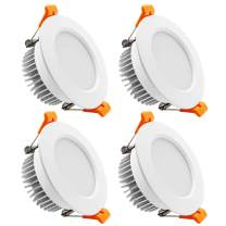YGS-Tech 4 Inch LED Recessed Lighting Dimmable Downlight, 9W(80W Halogen Equivalent), 3000K Warm White, CRI80, LED Ceiling Light with LED Driver (4 Pack)
