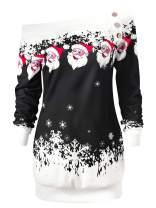Bemawe Womens Off The Shoulder Slouchy Christmas Sweater Santa Claus Snowflake Print Pullover Sweatshirt Holiday Top Shirt