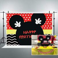 Riyidecor Cartoon Mouse Happy Birthday Backdrop Polka Dots Red Black Stripe Princess Kids Photography Background 7x5 Feet Decor Celebration Party Photo Shoot Backdrop Vinyl Cloth
