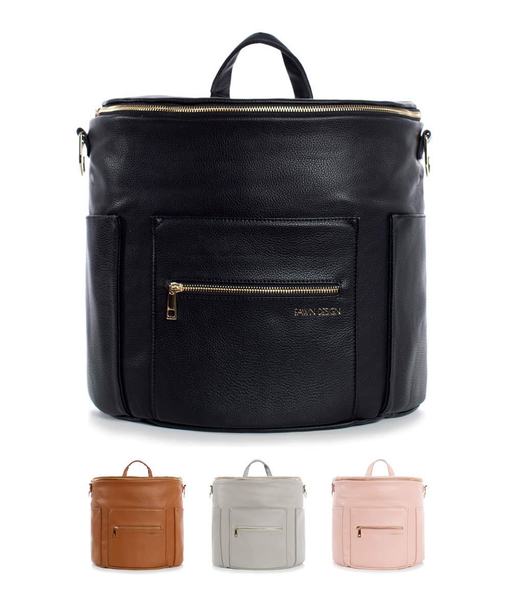 Fawn Design Premium Vegan Leather Diaper Bag and Backpack (Black 2.0)