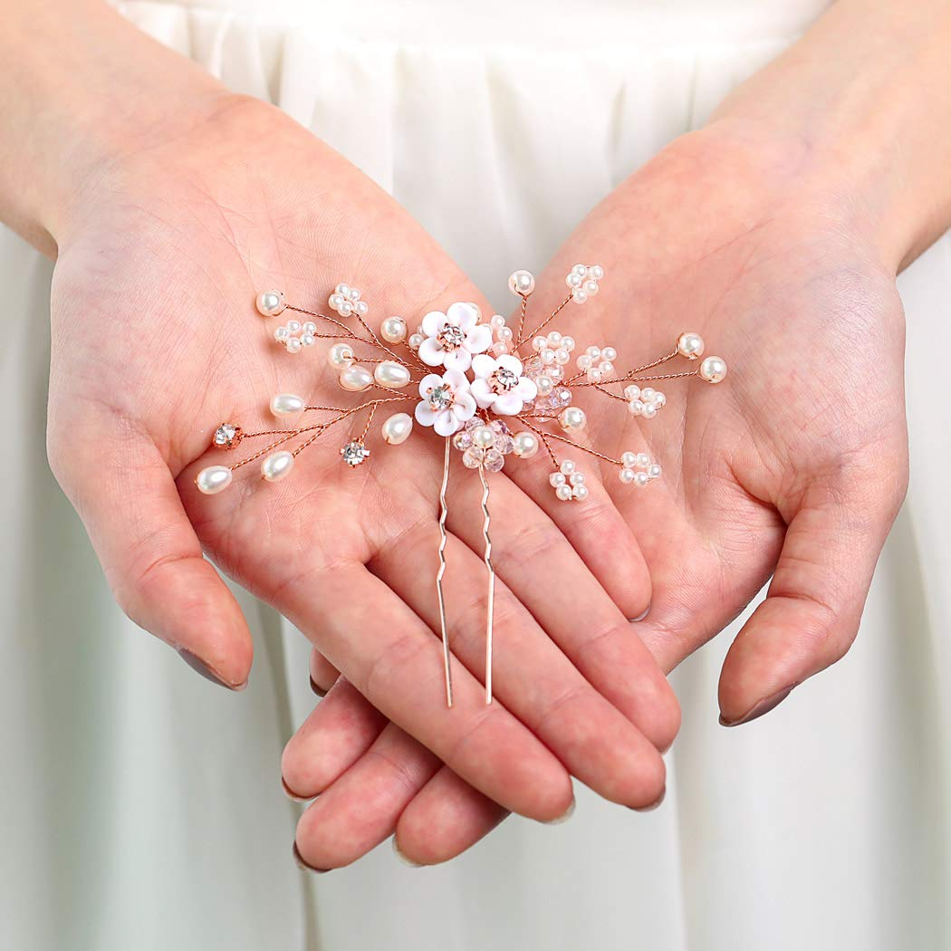 Yean Flower Bride Wedding Hair Pins Silver Bridal Hair Piece Pearl Hair Accessories for Women and Girls (Rose gold)