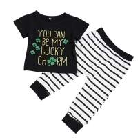 St. Patrick's Day Outfit Baby Girl Boy Lucky Charm Shamrock T-Shirt Tops Striped Pants Set