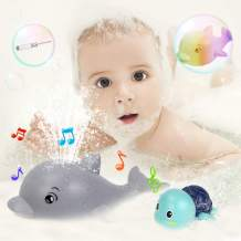 Baby Bath Toys, Water Spray Dolphin Bathtub Toy with LED Musical Light Up, Swimming Turtle Bath Toy, Crystal screwdriver, Induction Squirt Toy, Sprinkler Bathtub Shower Pool Bathroom Toys for Toddler