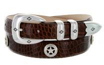 Presidential Silver Star Western Golf Concho Italian Calfskin Leather Dress Belt