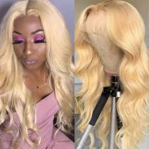 613 Lace Front Human Hair Wigs Pre Plucked Middle Part Lace Wig Blonde 13x4x1 Transparent Lace Wig Can Be Dyed Peruvian Body Wave Hair Wig For Women (10 inch, 613 body wave)