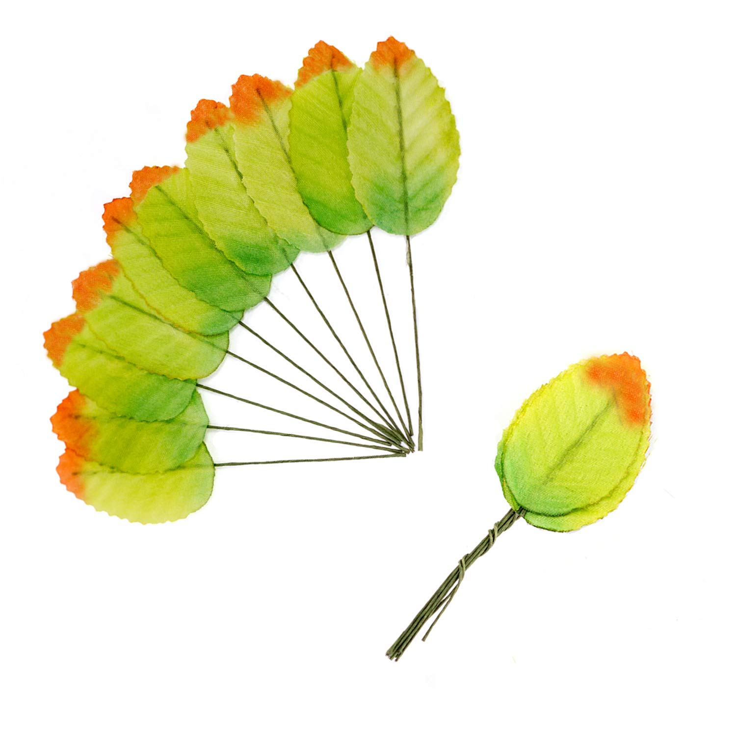D-buy 200 Pcs Silk Leaf Artificial Leaves, for Wedding Decor, DIY Home Decorative, Christmas Party Decoration, DIY Wreath Gift Scrapbooking, Craft Fake Flower Supplies (FluorescentGreen)