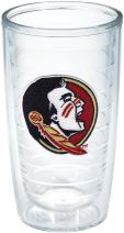 Tervis 1144467 Florida State University Seminole Head Emblem Individual Tumbler, 16 oz, Clear