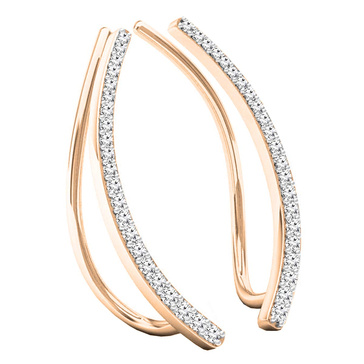 Dazzlingrock Collection 0.22 Carat (ctw) 10K Gold Round White Diamond Ladies Crawler Climber Earrings