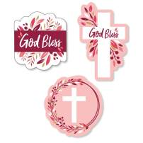 Big Dot of Happiness Pink Elegant Cross - DIY Shaped Girl Religious Party Cut-Outs - 24 Count