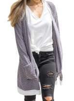 MIHOLL Women's Open Front Cardigan Long Sleeve Striped Lightweight Cardigans